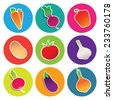 Set of vegetable icons in the circles: beetroot, carrot, eggplant, garlic, onion, paprika, potato, radish, tomato. Vector illustration. - stock vector