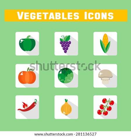 Set of vegetable icons into flat style. Isolated objects. Vegetarian concept healthy life. Vector illustration