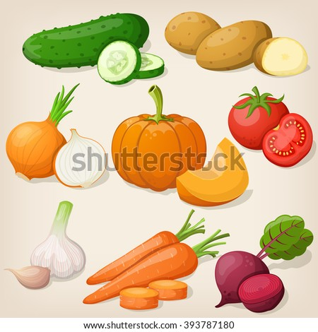 Set of vegetable. Vector illustrations