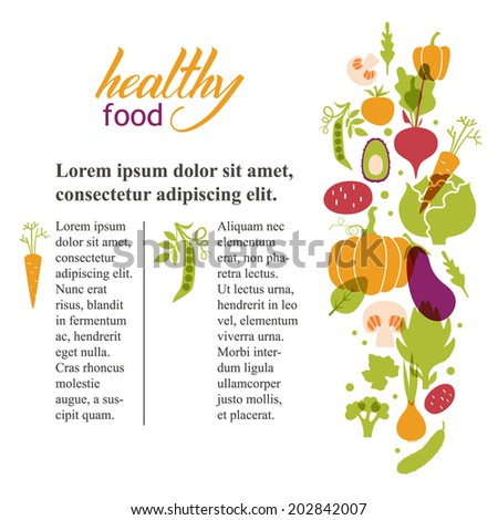 Set of vegetables. Healthy food table. Article about healthy food and its design