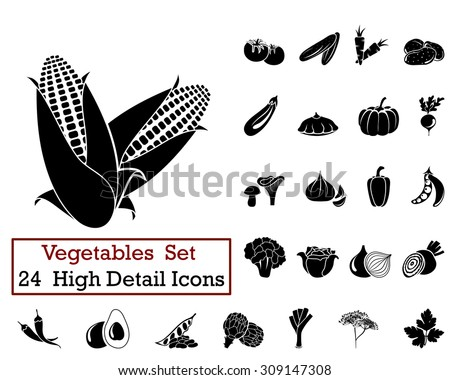 Set of 24 Vegetables Icons in Black Color. Suitable For All Kind of Design (Web Page, Interface, Advertising, Polygraph and Other). Vector Illustration.  - stock vector