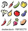 set of vegetables icons, multicoror vegetables symbol - stock vector