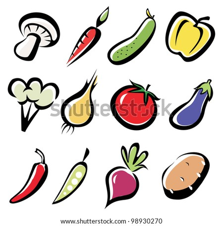set of vegetables icons, multicoror vegetables symbol