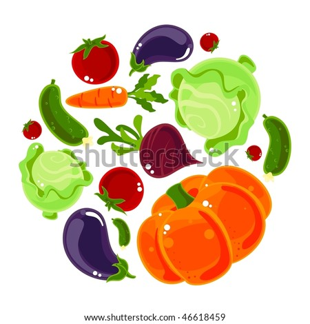 Set of vegetables on a white background - stock vector
