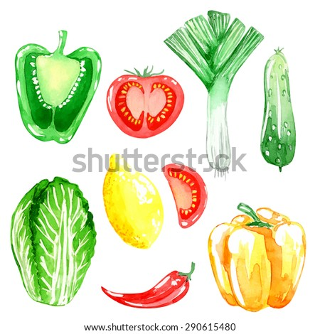 Set of vegetarian food. Watercolor background. Lemon, pepper, cucumber ...