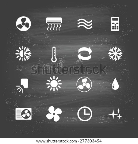 set of ventilation and conditioning system flat icons - stock vector