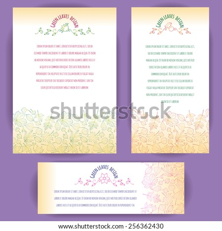 Set of vertical and horizontal banners decorated with border of leaves of various trees drawn with multicolor outlines. Floral badge decoration. Vector design for cards, invitation and other. - stock vector