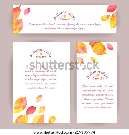 Set of vertical and horizontal banners. Watercolor colorful elm leaves. Vector cards design.  - stock vector