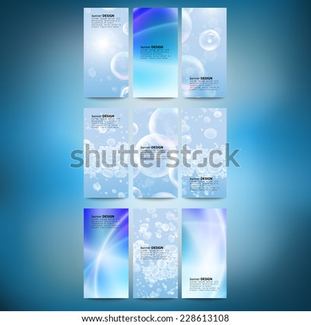Set of vertical banners. Drops in the blue water vector background. Modern banners, abstract banner design, business design and website templates vector. - stock vector