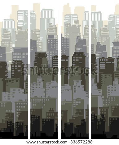 Set of vertical banners of stylized big city with downtown and skyscrapers. - stock vector