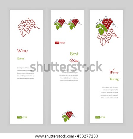 Set of vertical banners with grapes. Wine company, wine making banner. Wine business banner. Line and flat style wine banner. Wine concept banner. Red and green vector illustration on white background - stock vector