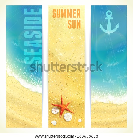 Set of Vertical Banners with Seaside and Starfish. Vector illustration, eps10, editable. - stock vector