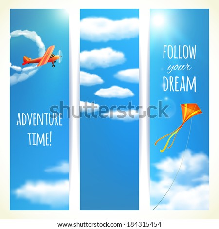 Set of Vertical Banners with Skies. Vector illustration, eps10, editable. - stock vector