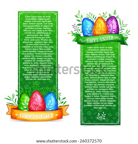Set of vertical bright green template posters, banners, postcards or brochures for a happy Easter. Ornamental elements with eggs and ribbons. Pattern of simple colors. Vector. Place for your text. - stock vector