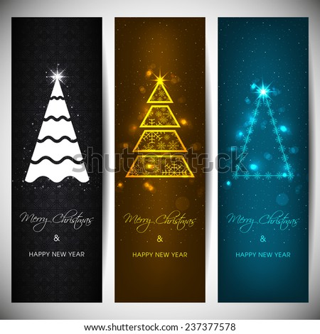 Set of vertical Christmas banners with stylish tree.