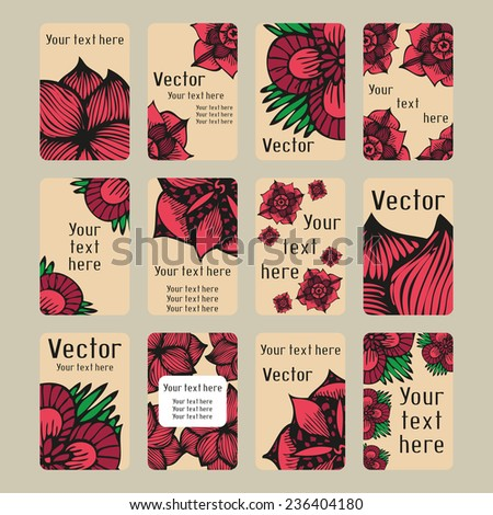 Set of vertical colourful business cards with doodling flowers in tattoo style, vector illustration