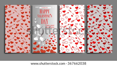 Set of vertical Happy Valentines day banners. Template  for present cards and invitations. Seamless backgrounds textures. - stock vector