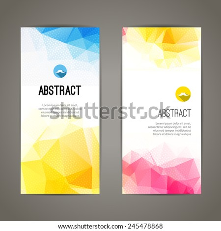 Set of vertical polygonal and triangular creative geometric banners for modern innovate design  - stock vector