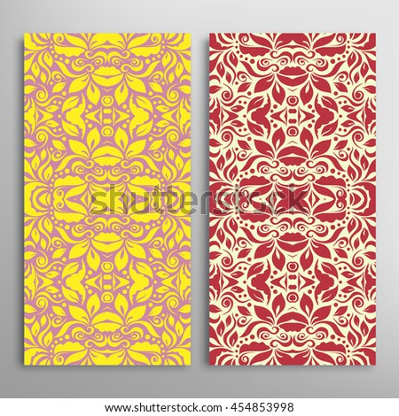 Set of vertical seamless geometric floral patterns. Vector color stylish fabric repeating texture, seamless backgrounds collection. Contemporary graphic design. Tribal ethnic arabic, indian ornament - stock vector