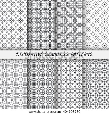 Set of vertical seamless line patterns. Vector black and white stylish geometric repeating texture. Contemporary graphic design. Tribal ethnic ornament, monochrome background - stock vector