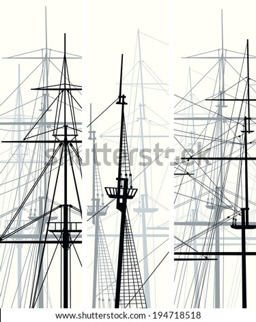 Set of vertical vector banners with masts and sailyards of sailing ships.