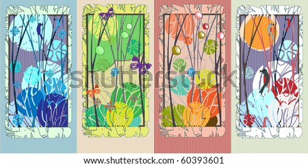 set of 4 vertycal cards with four seasons - stock vector