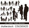 Set of very detailed family silhouettes.  - stock vector