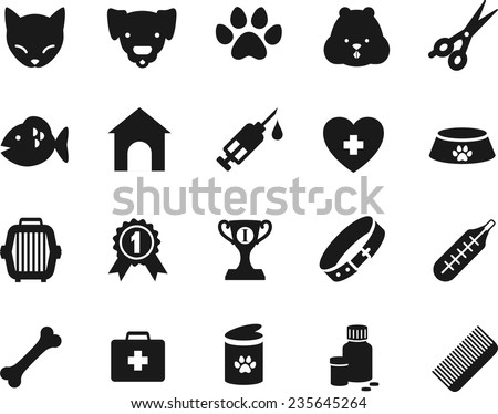 Set of veterinary black flat icons - stock vector