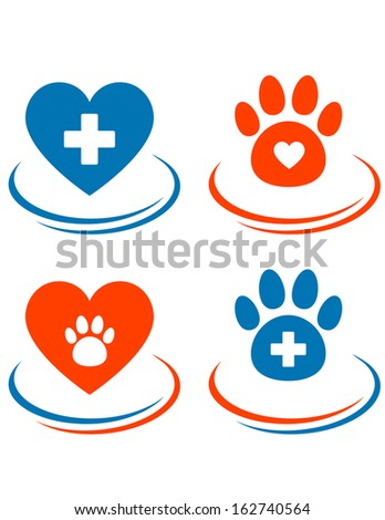 set of veterinary symbols with red heart, cross and paw on white background - stock vector