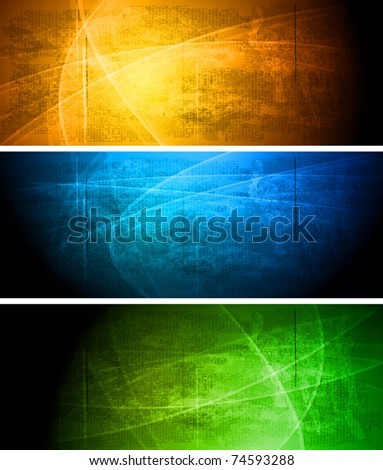 Set of vibrant grunge banners. Eps 10 vector illustration - stock vector