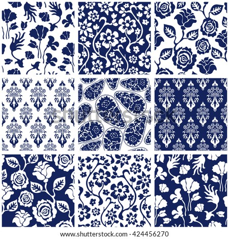 Set of Victorian damask seamless patterns with roses and wildflowers. Chinese, Indian, French and Italian motifs. Floral ornaments, paisleys, baroque prints. Retro textile collection. Blue, white. - stock vector