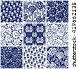 Set of Victorian damask seamless patterns with roses. Chinese, Indian, French and Italian motifs. Leaves ornaments, roses, geometrical prints. Oriental textile collection. Blue on white. - stock vector