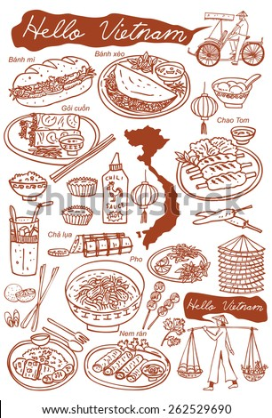 Set of Vietnamese food doodles. Hand drawn outline vector. - stock vector
