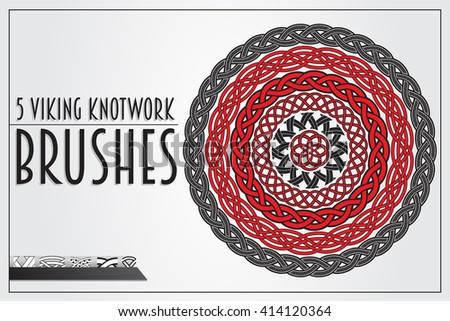 Set of Viking Knotwork brushes for design. Main elements are separated, ready for painting. - stock vector