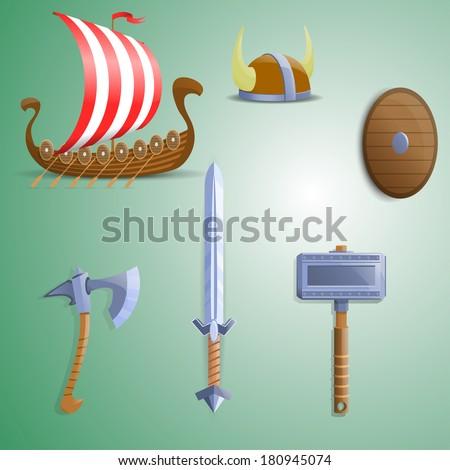 Set of  Viking weapons. Viking ship. - stock vector