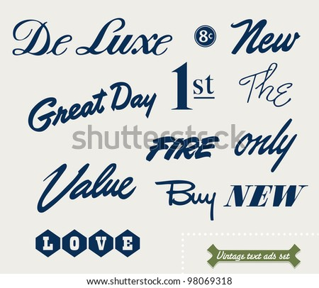 set of vintage ad texts 2 - stock vector