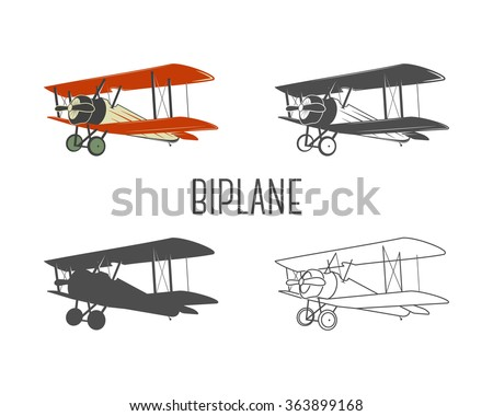 Set of vintage aircraft design elements. Retro Biplanes in color, line, silhouette, monochrome designs. Aviation symbols. Biplane emblem. Old style planes. Isolate on white background - stock vector
