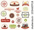 Set of vintage and modern farm logo labels and designs - stock photo