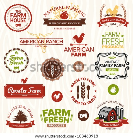 Set of vintage and modern farm logo labels and designs