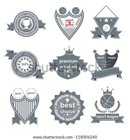 Set of vintage and modern sport elements labels for sale - stock vector
