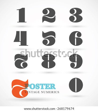 Set of vintage and retro numeric font numbers for abstract art - stock vector