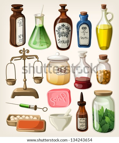 Set of vintage apothecary and medical vector supplies - stock vector