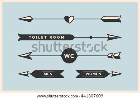 Set Of Vintage Arrows And Banners With Inscription WC Toilet Room Woman Man