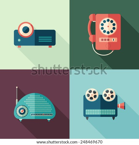 Set of vintage audio and video flat icons with long shadows. - stock vector