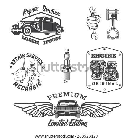 Set Vintage Auto Service Labels Design Stock Vector 268523129 ...