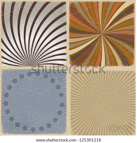Set of vintage background with grunge elements - stock vector