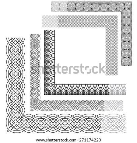 Set of Vintage backgrounds, corners, Guilloche ornamental Element for Certificate, Money, Diploma, Voucher, decorative round frames. - stock vector