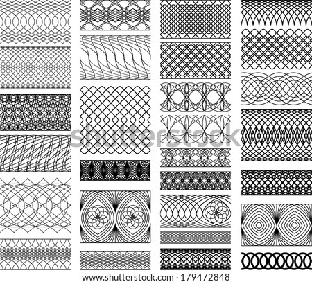Set of Vintage backgrounds, Guilloche ornamental Element for Certificate, Money, Diploma, Voucher, decorative round frames. - stock vector