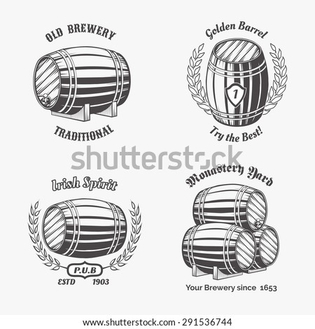 Set of vintage badge for beer house. Keg and drink, wooden cask, container wine, vector illustration - stock vector