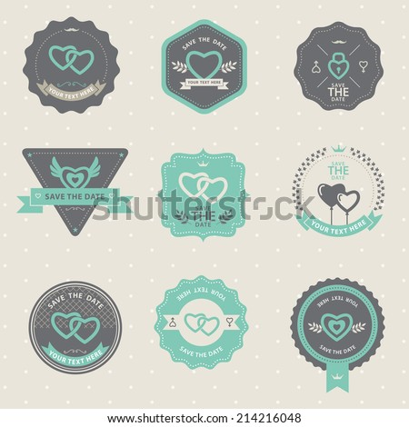 Set of vintage badge Wedding and love, labels and design elements - stock vector